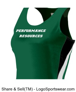 Women's Race Singlet Green Design Zoom